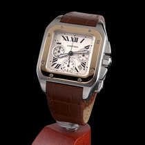 Cartier santos 100 chronograph steel and gold automatic