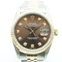 Rolex Datejust 36mm Two Tone Diamond Dial Brown