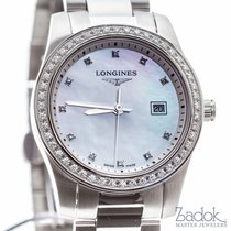 Longines Conquest MOP Dial 29mm Diamond Bezel Quartz Watch...