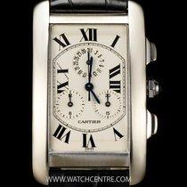 Cartier 18k W/G Tank Americaine Chronoflex B&P W2603356