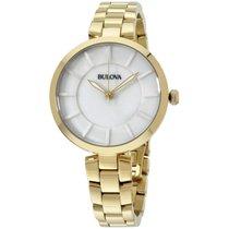Bulova White Dial Gold Tone Ladies Watch 97l142