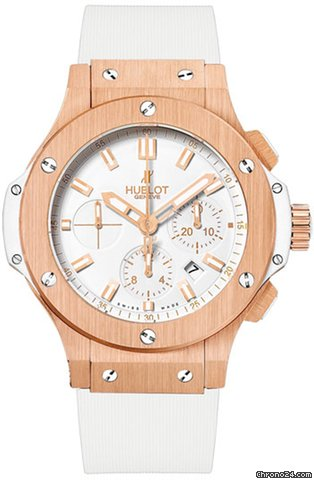 Hublot Big Bang White Dial 18kt Rose Gold Case Chronograph Mens Watch 301-PE-2180-RW