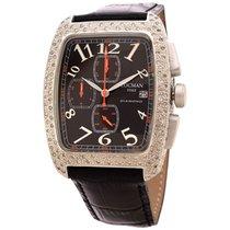 Locman Diamond Tonneau Chronograph Black Dial Black Leather...