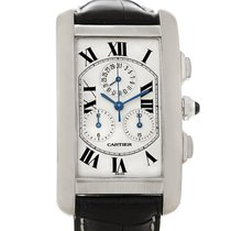 Cartier Tank Americaine Chronograph 18k White Gold Watch W2603358