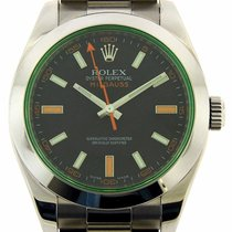 Rolex Milgauss 116400V Stainless Steel Green Crystal Oyster V...