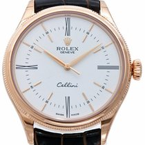 Rolex Cellini Time 50505 39mm White Index Rose Gold Leather 2017