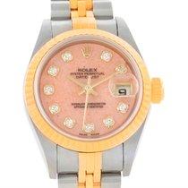 Rolex Datejust Ladies Steel 18k Yellow Gold Pink Coral Watch...