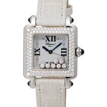 Chopard 18K White Gold Happy Sport Square Quartz Diamond...