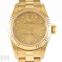 Rolex Uhr Oyster Perpetual Lady 750er Gelbgold Diamanten Ref....