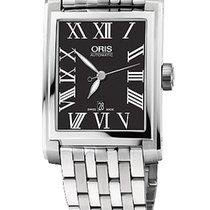 Oris Rectangular 30x44 Date, Roman, Black Dial, Steel