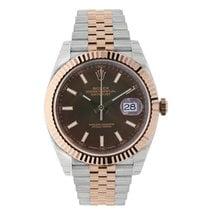 Rolex DATEJUST 41mm Steel & 18K Rose Gold Watch Chocolate...