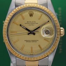 Rolex Oyster Perpetual 34mm 15053 Date 18k Gold Steel
