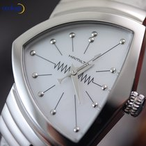 Hamilton Ladies Ventura Quartz Watch Steel on Leather White...