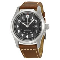 Hamilton Khaki Field Men's Brown Leather Strap Watch...