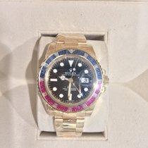 Rolex GMT MASTER II 18 K FACTORY SET RUBY/SAPPHIRE BEZEL UNWORN