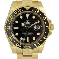 Rolex GMT Master II 18k Yellow Gold Black Dial 116718 Mint