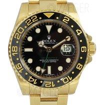 Rolex GMT Master II 18k Yellow Gold Black Dial 116718 Mint
