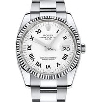 Rolex Oyster Perpetual Date 34 115234-WRO White Roman Fluted...