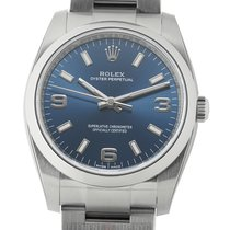 Rolex Oyster Perpetual No-Date Steel 34mm Blue Dial Ref. 114200