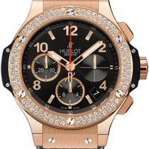 Hublot Big Bang Diamonds 18K Rose Gold Black Rubber Unisex Watch