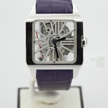 Cartier Santos Dumont Skeleton 18k White Gold Purple Alligator...