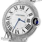 Cartier Ballon Bleu W69011z4 37mm Mid-size Watch Pave Diamond...