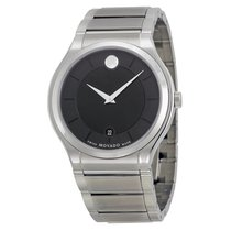 Movado Quadro Black Dial Stainless Steel Men's Watch