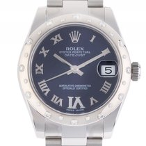 Rolex Datejust Medium Stahl Weißgold Oyster Armband Diamond...