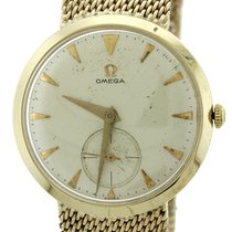 Omega Solid 14k Yellow Gold 33mm Manual Wind Mesh Band Dress...