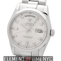 Rolex Day-Date President Platinum Silver Diamond Dial New-Styl...