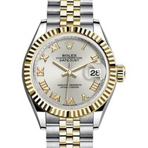 Rolex Lady-Datejust 28 279173 Silver Roman Fluted Yellow Gold...