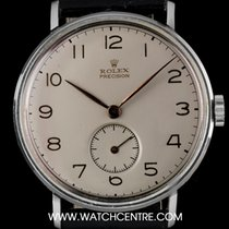 Rolex Stainless Steel Silver Arabic Dial Precision Gents 3977