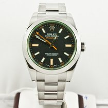 Rolex 40mm Stainless Steel Milgauss 116400GV Green Crystal