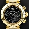Cartier 18k Y/G Black Dial Pasha Seatimer Chrono B&P