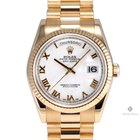 Rolex Day-Date Yellow Gold White Roman Numeral Dial Fluted...
