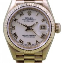 Rolex Datejust 69178 Ladies 26mm White Roman 18k Yellow Gold...