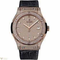 Hublot Classic Fusion King Gold Full Pave Men's Watch