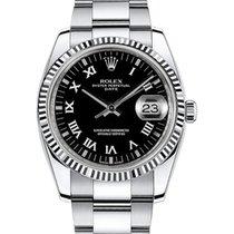 Rolex Oyster Perpetual Date 34 115234-BLKRO Black Roman...