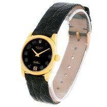 Rolex Cellini Danaos Ladies 18k Yellow Gold Black Dial Watch 6229