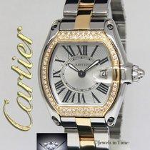 Cartier Roadster 18k Yellow Gold/Steel Diamond Bezel Ladies...
