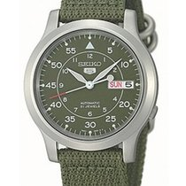 Seiko 5 Automatic Mens Strap Watch - Military Green Dial -...