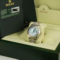 Rolex Day Date Platinum President  Glacier Ice Blue Roman 218206