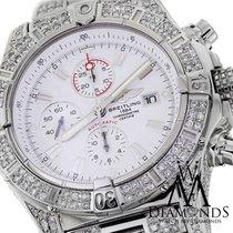 Breitling Super Avenger White A13370 Covered Over 12ct Diamond...