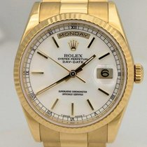 Rolex Mens Rolex 18k Yellow Gold President Day Date White Dial...