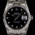 Rolex S/S O/Perpetual Black Diamond Dial Datejust Gents 16234
