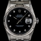 Rolex S/S Oyster Perpetual Black Diamond Dial Datejust Gents...