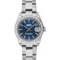 Rolex Datejust Ladies Midsize 178384-BLUSO Blue Index White...
