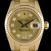 Rolex 18k Y/G Champagne Diamond Dial Datejust Ladies 179178