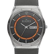 Skagen Melbye Mens Mesh Strap Watch - Grey & Orange Dial -...