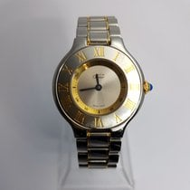 Cartier Must De 21 Quartz Steel Gold Ladies Watch & Band